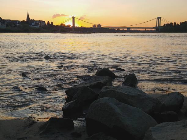 Rodenkirchen Beach in Cologne, Germany. Sunset. Rhine River. – Foto