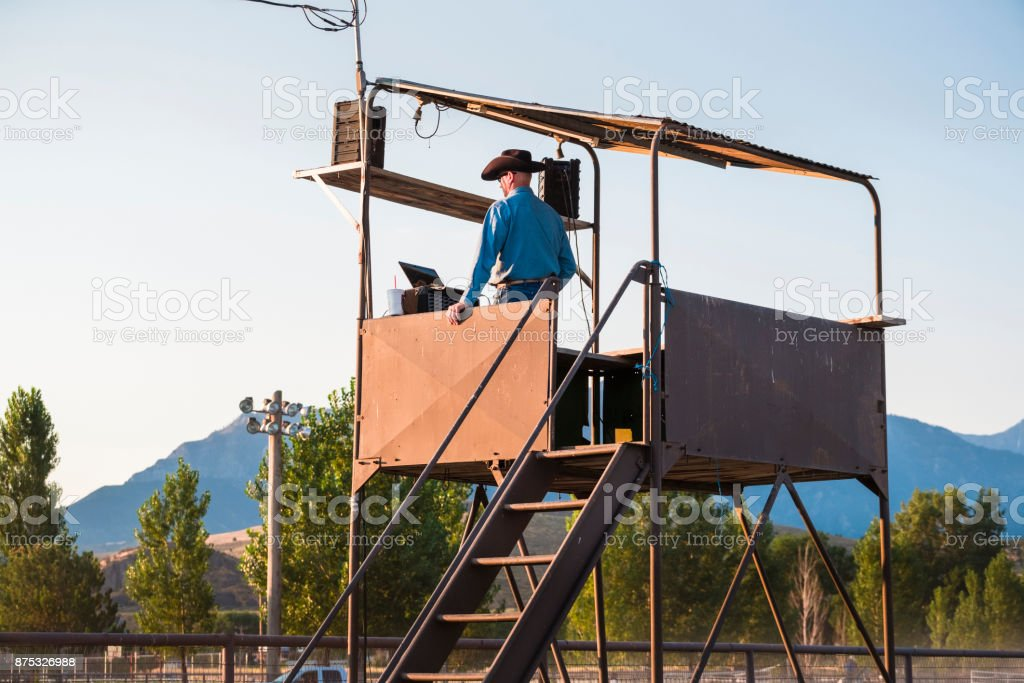 Rodeo Announcer In His Booth. stock photo
