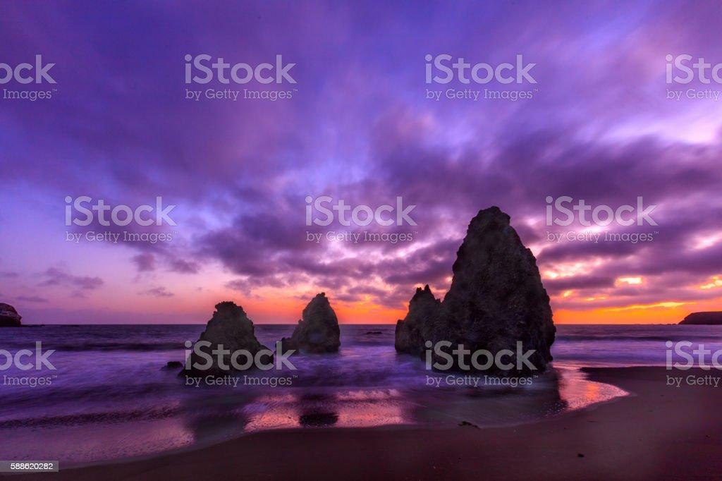 Rodeo Beach Sunset Sausalito San Francisco stock photo