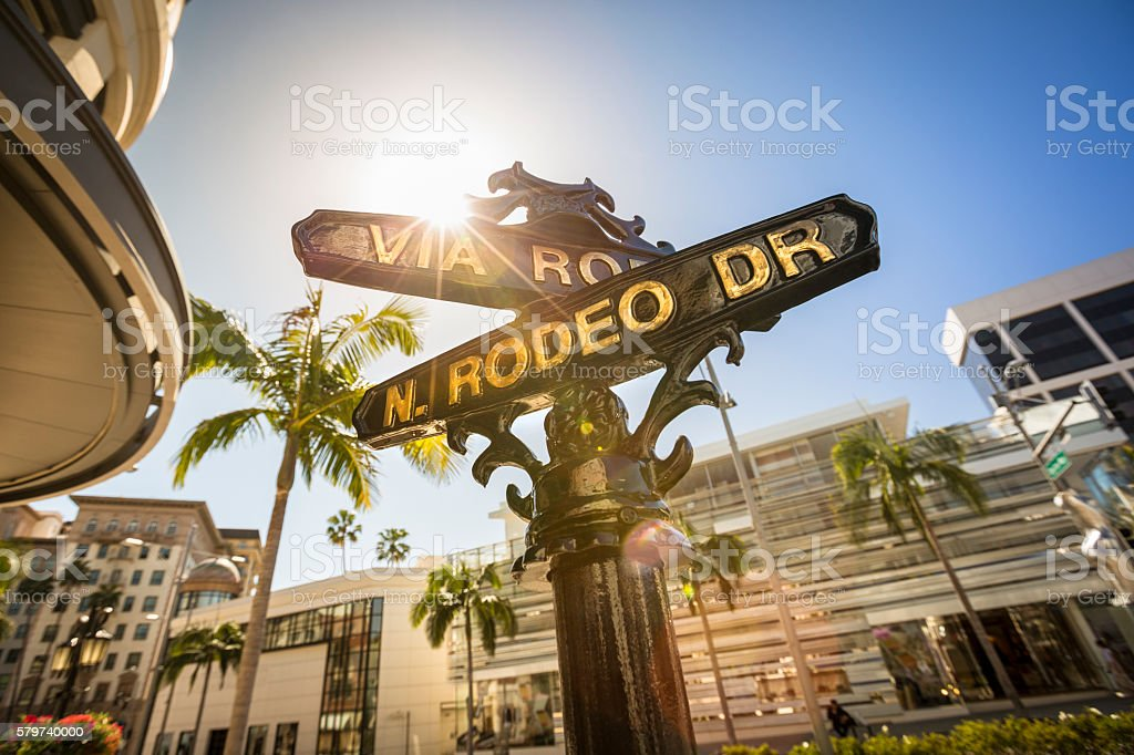 Rodeo Drive street sign stock photo