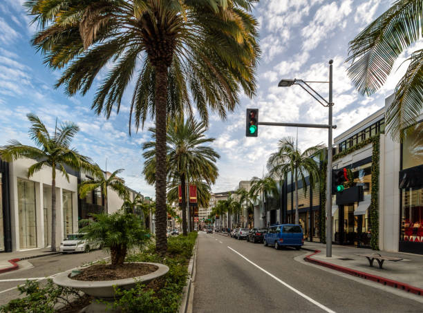 Rodeo Drive Street with stores and Palm Trees in Beverly Hills - Los Angeles, California, USA stock photo