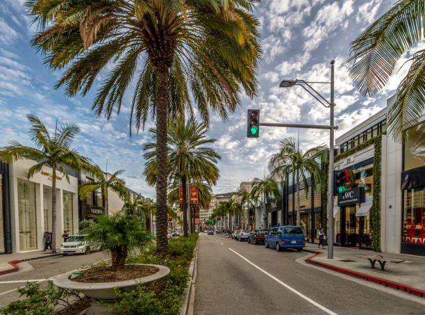 91e8af5a874 Rodeo Drive Street with stores and Palm Trees in Beverly Hills - Los  Angeles