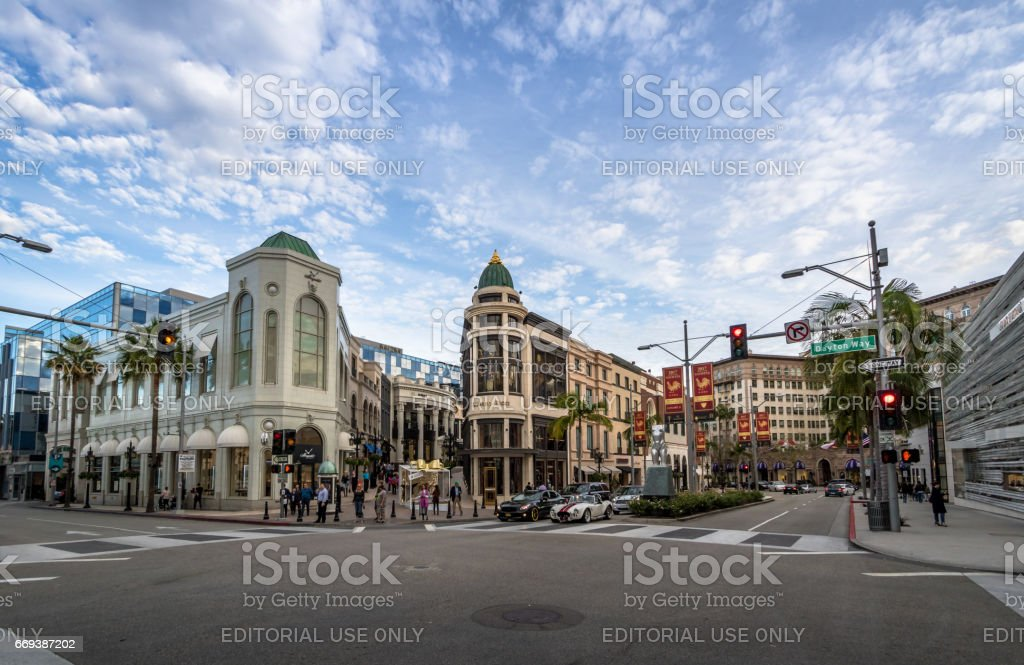 Rodeo Drive Street with stores in Beverly Hills - Los Angeles, California, USA stock photo