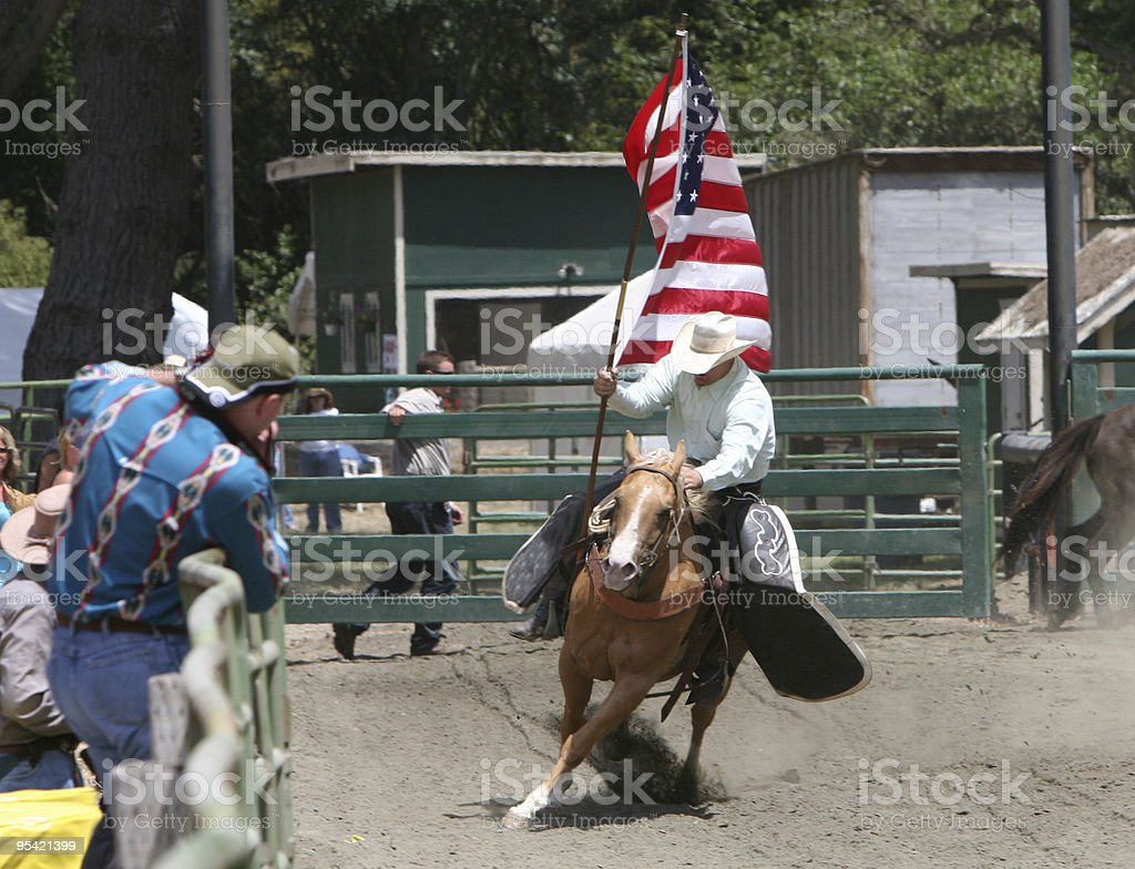 Rodeo Flag on the 4th of July stock photo
