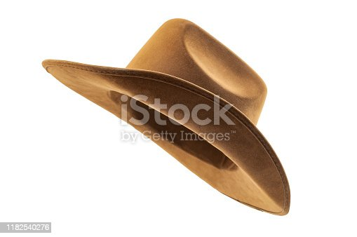 Rodeo horse rider, wild west culture, Americana and american country music concept theme with side view of a brown leather cowboy hat isolated on white background with clip path cut out
