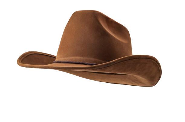 Jinete de caballo rodeo, cultura salvaje del oeste, Americana y el tema del concepto de música country estadounidense con un sombrero de vaquero de cuero marrón aislado sobre fondo blanco con camino cortado - foto de stock