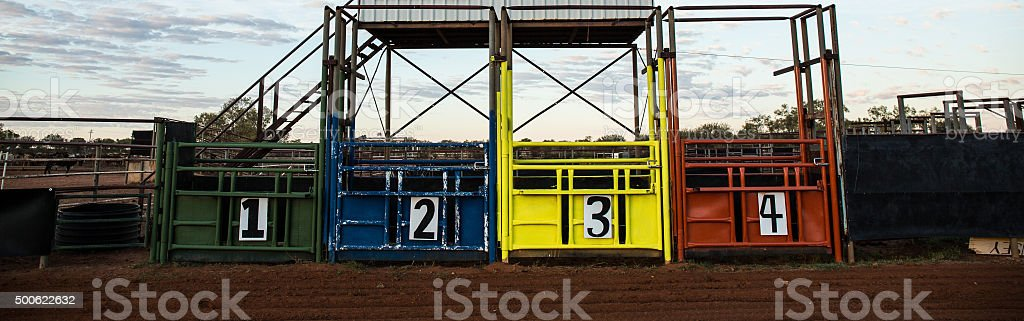 rodeo stalls stock photo