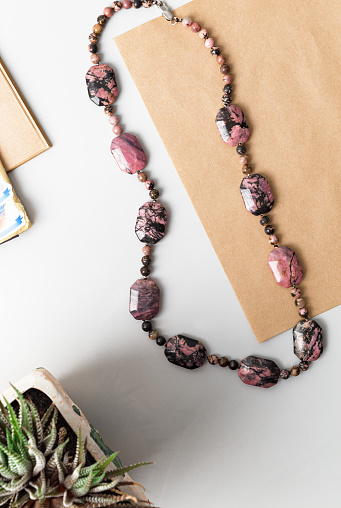 Rodonite necklace top view