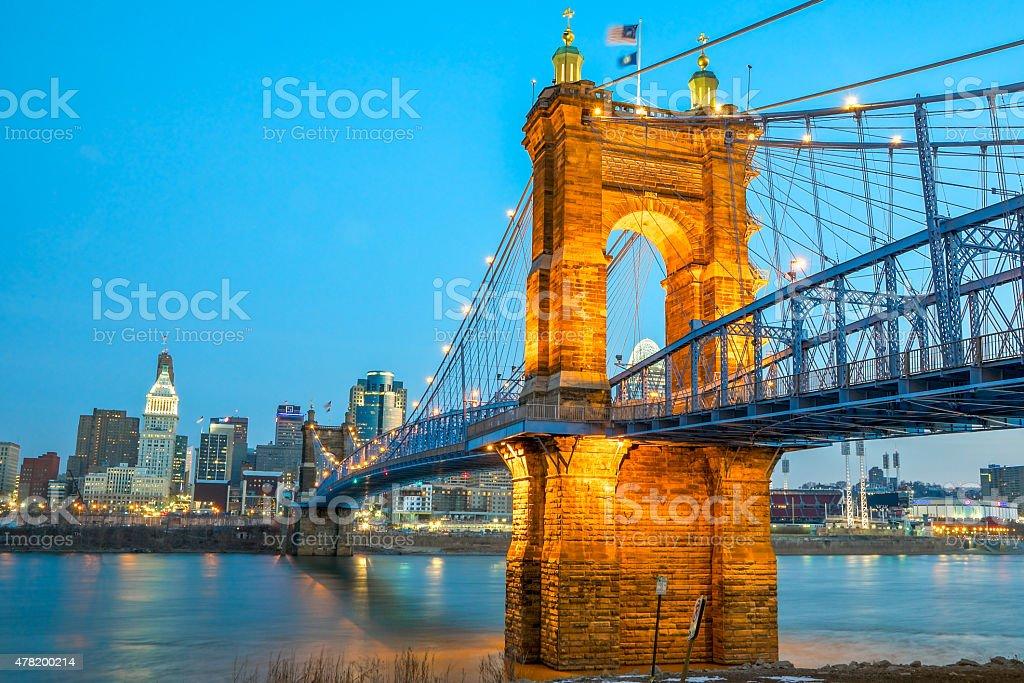Roebling bridge, Cincinnati - dawn stock photo