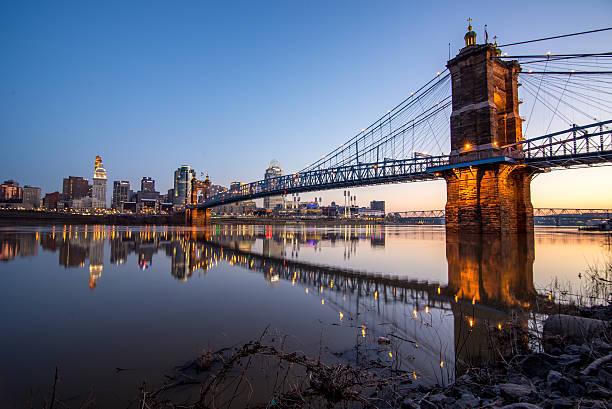 Roebling Bridge, Cincinnati, OH Roebling bridge over the River Ohio connecting COvington, KY with Cincinnati, OH.  Seen at dawn cincinnati stock pictures, royalty-free photos & images