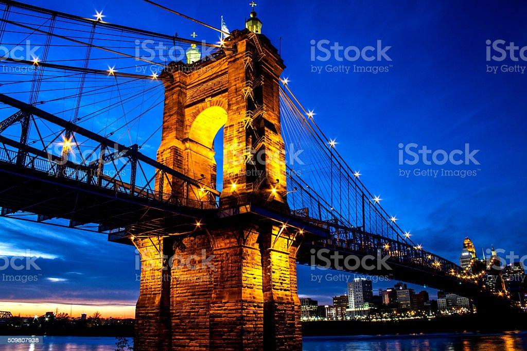 Roebling Bridge Cincinnati stock photo