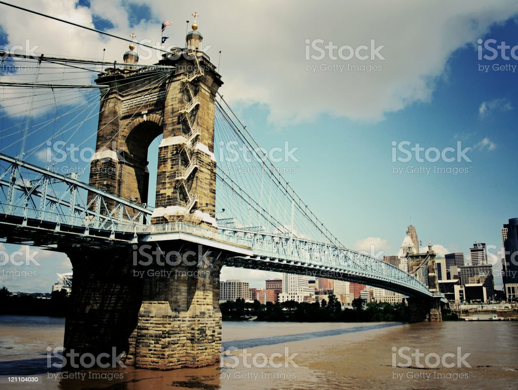Roebling Suspension Bridge royalty-free stock photo