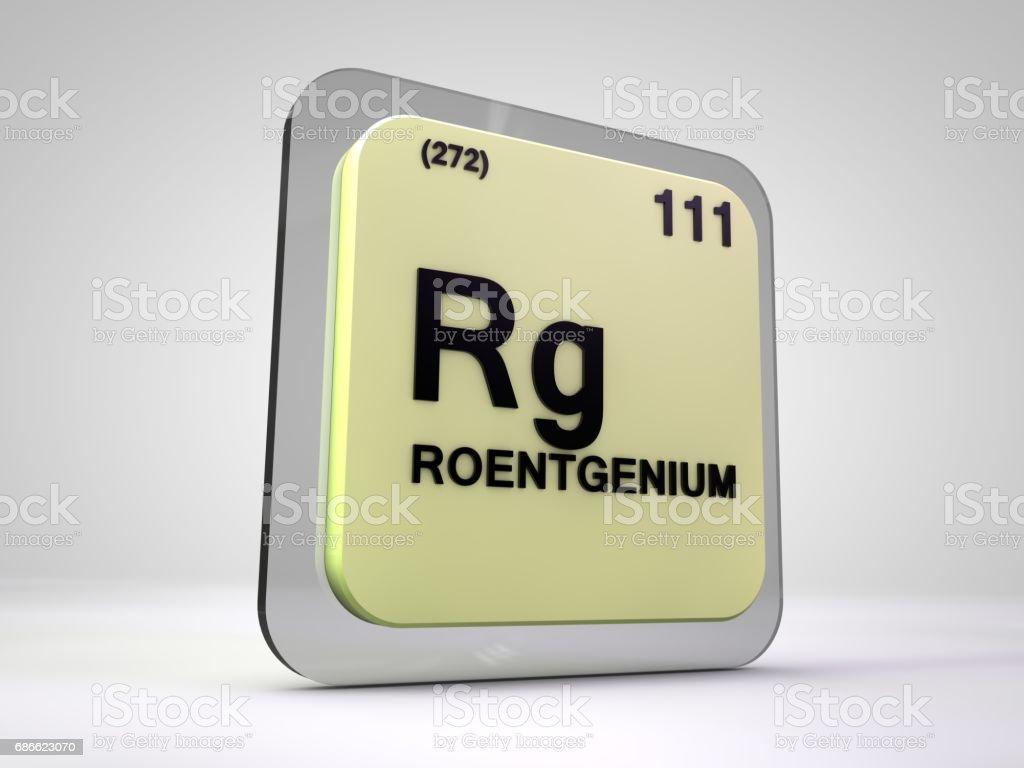 illustration 3d du tableau périodique des éléments chimiques roentgemium - Rg- photo libre de droits