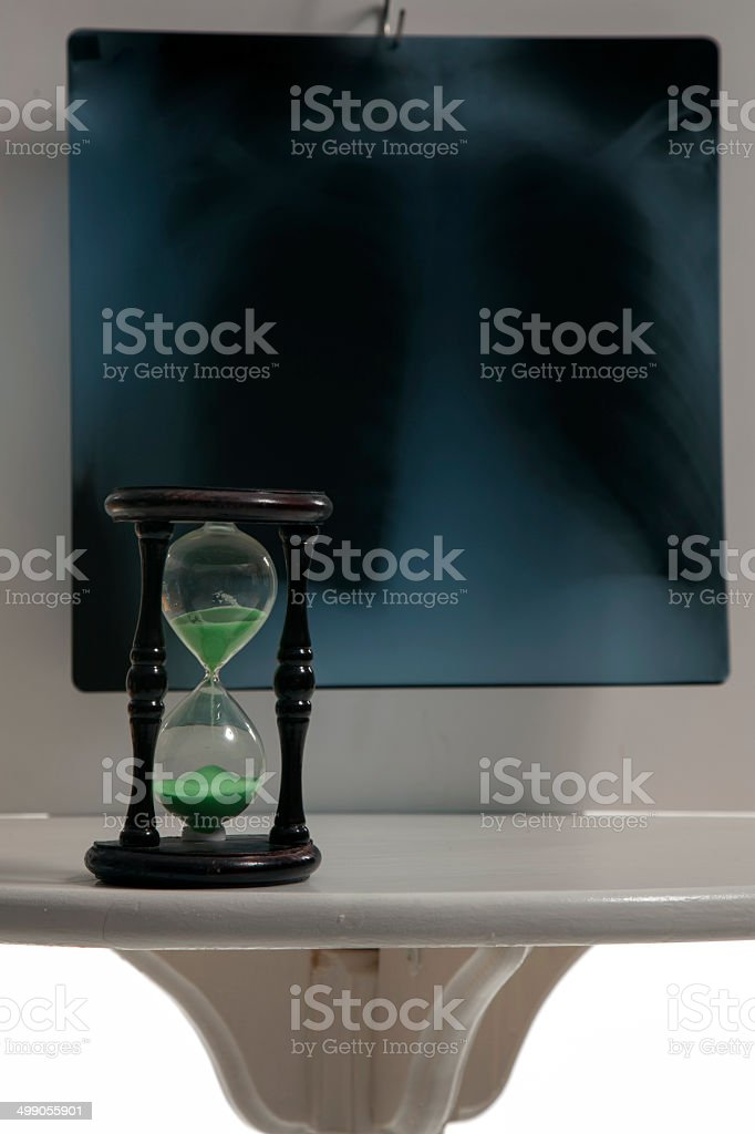 Roentgen and an hourglass stock photo