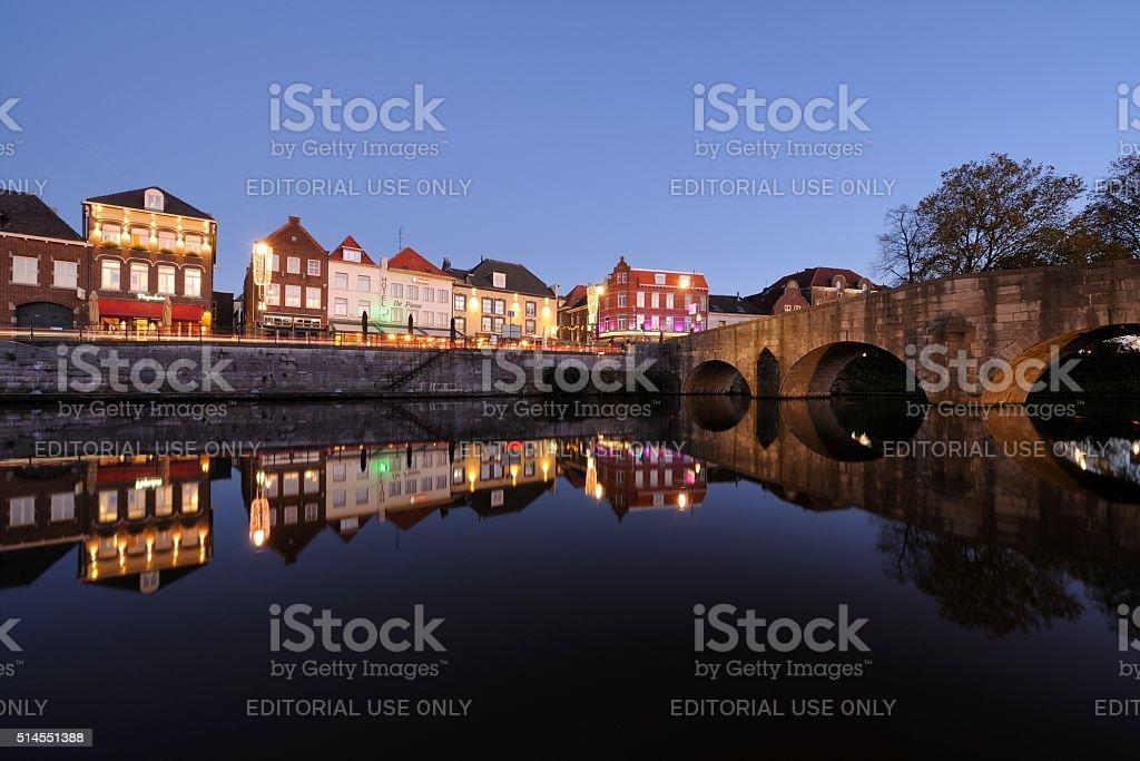 Roerkade in Roermond with the Stone Bridge stock photo