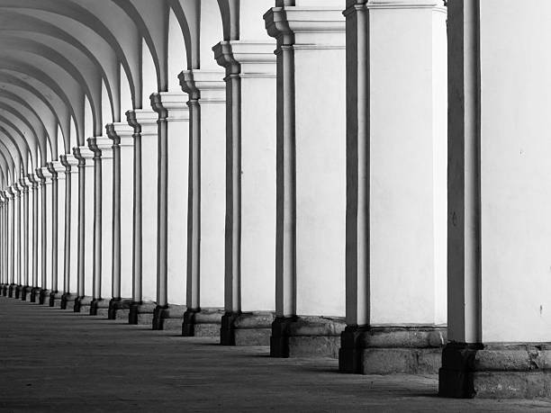 Rof of columns in colonnade Row of column in colonnade. Perspective view of long arc vault corridor. Black and white image. arch architectural feature stock pictures, royalty-free photos & images