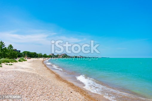 A beach in Rogers Park Chicago with trees on the shoreline and Lake Michigan during summer