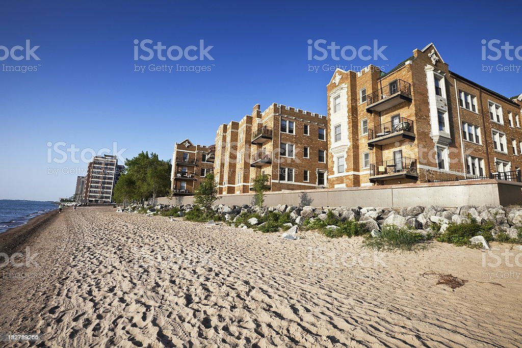 Rogers Park Lakeshore Beach and Apartments, Chicago royalty-free stock photo
