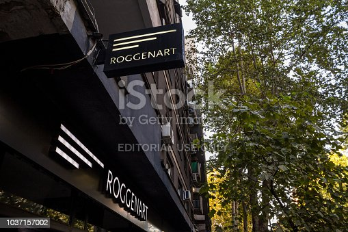 istock Roggenart logo on their main store and bakery in Belgrade. Roggenart is an Austrian chain of bakeries, specialized in biological and healthy bread products 1037157002