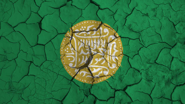 Rohingya flag on dry earth ground texture background Rohingya flag on dry earth ground texture background rohingya culture stock pictures, royalty-free photos & images