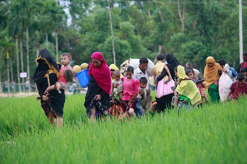 Rohingya Muslims Flee Violence In Myanmar Stock Photo - Download Image Now