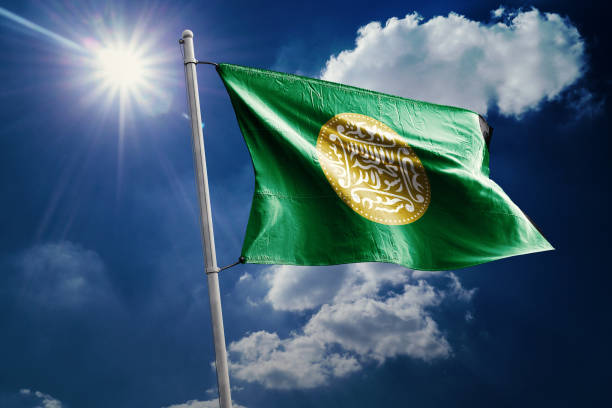 Rohingya Realistic Waving Flag Arakanese Rohingya National Flag rohingya culture stock pictures, royalty-free photos & images