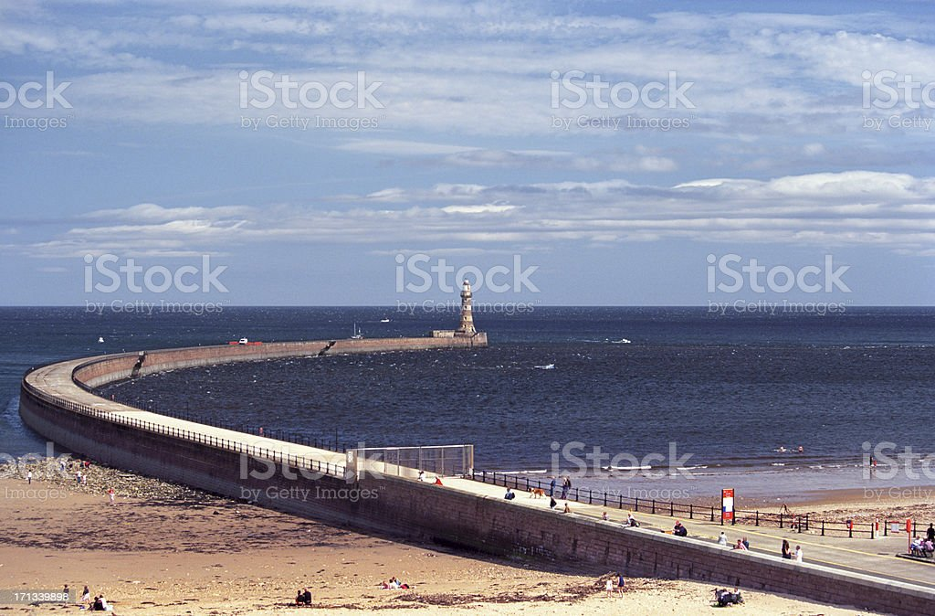 Roker lighthouse and pier stock photo