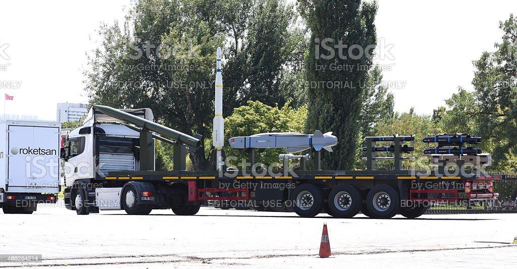 Roketsan Rockets on Truck in Ankara stock photo