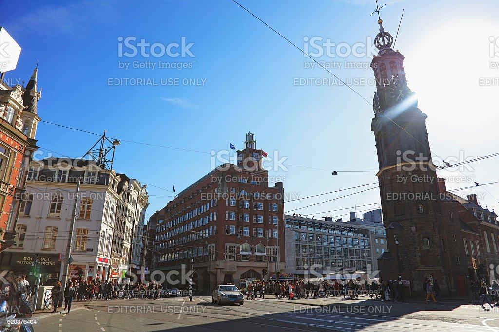 Rokin and amstel street junction, Amsterdam, Netherlands foto de stock royalty-free