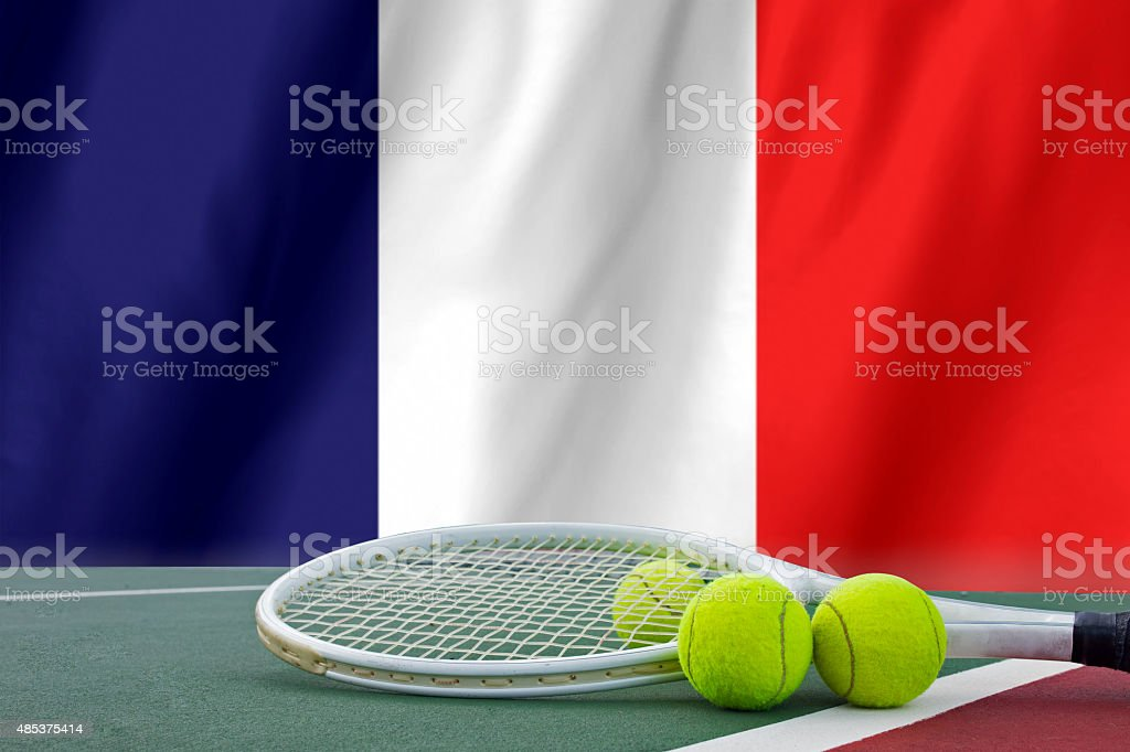 Roland Garros tennis concept with flag and ball stock photo