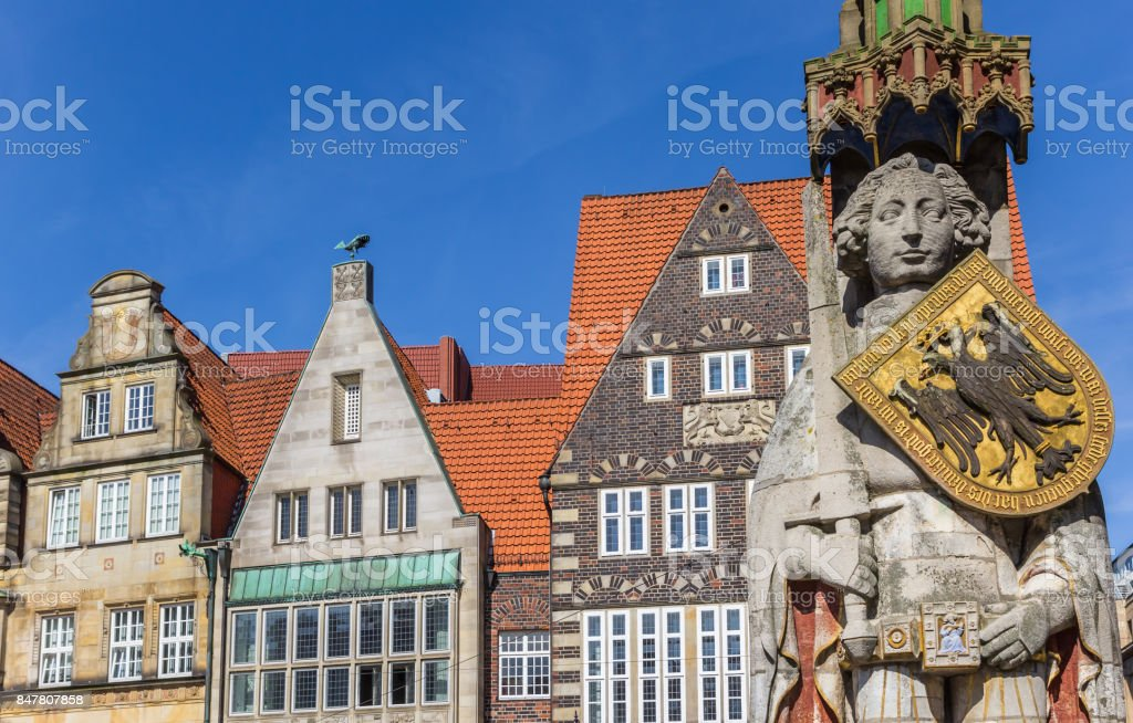 Roland statue and old houses in the center of Bremen, Germany stock photo