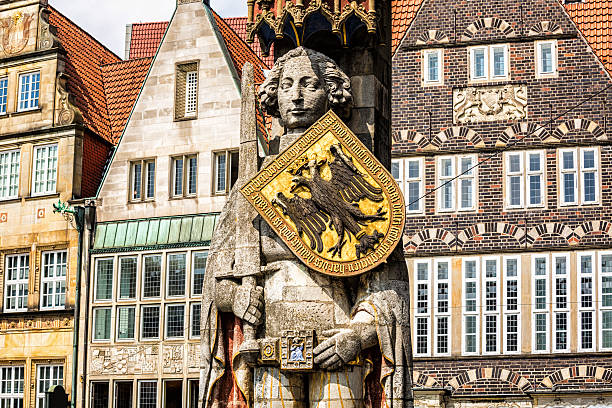 Estatua de Roland en Bremen, Alemania - foto de stock