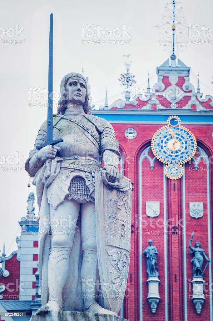 Roland Statue Riga Old Town stock photo