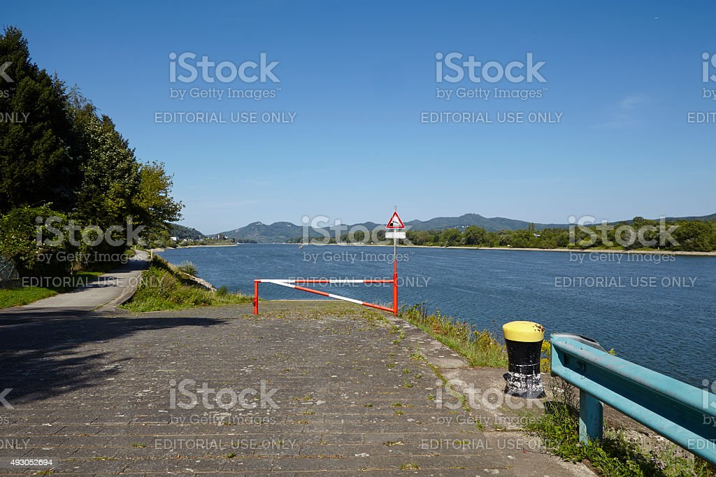 Rolandseck (Remagen) - Boat ramp into the Rhine with bollard stock photo