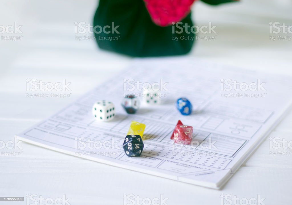 Role playing dices stock photo