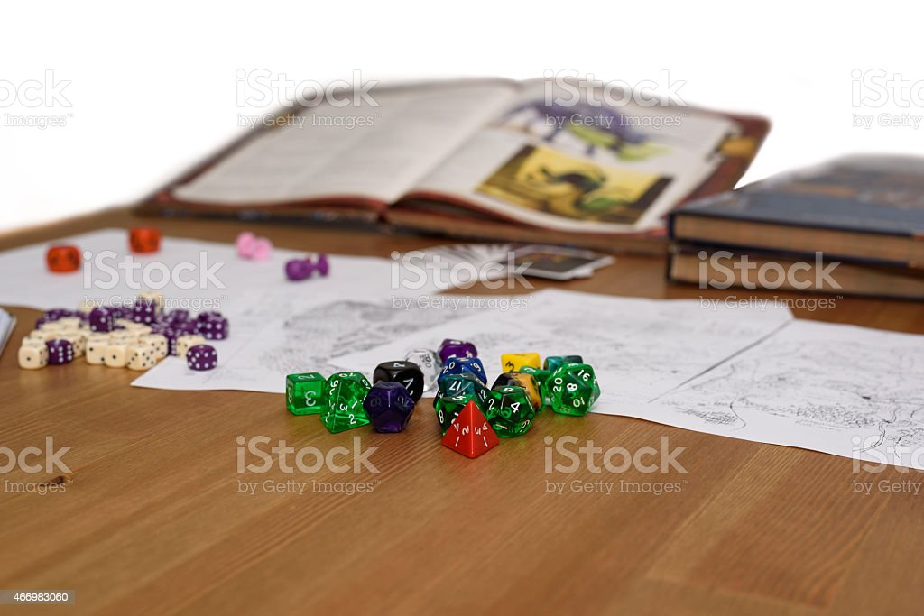 role playing game set up on table isolated stock photo