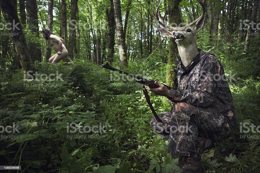 Role Reversal Deer Hunter royalty-free stock photo