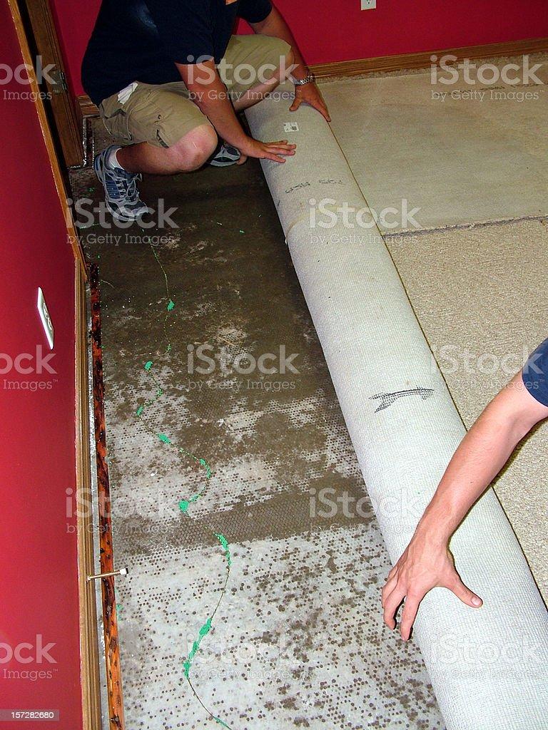 Roll Back Wet Carpet stock photo
