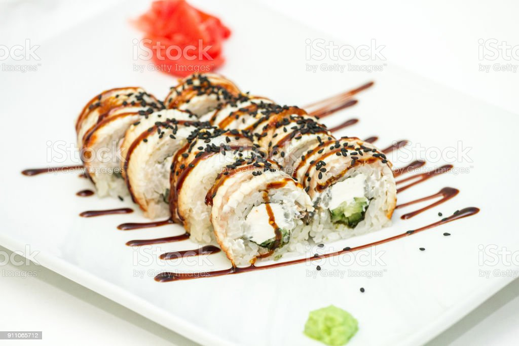 Roll Black Dragon with fried eel stock photo