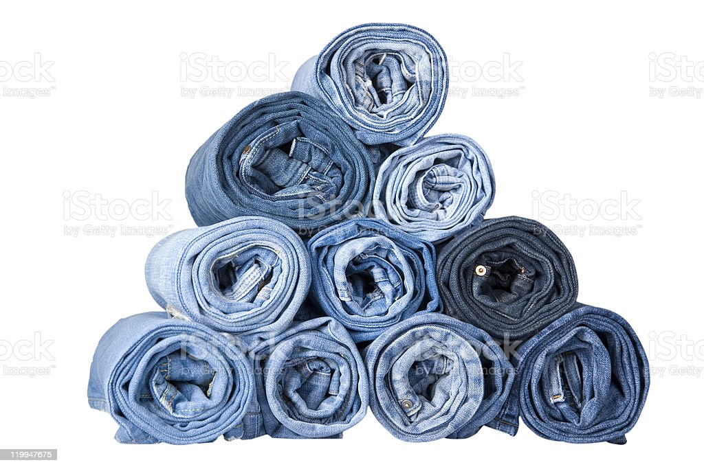 roll blue denim jeans royalty-free stock photo