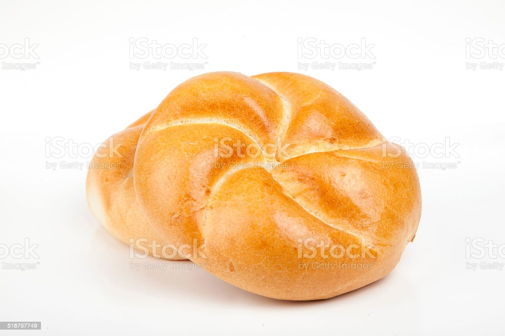 Roll bread isolated on white background stock photo