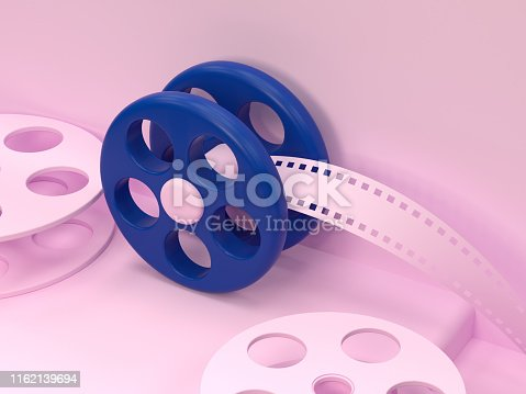 roll film cinema technology 3d rendering pink scene cartoon style