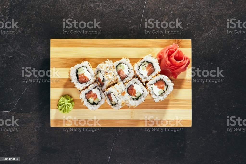 Roll made of Salmon, Cucumber and Cream Cheese inside royalty-free stock photo