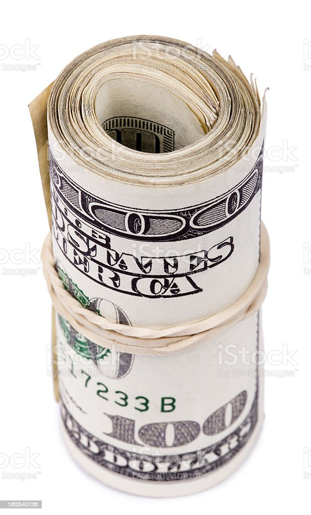 Roll of 100 US$ Bills royalty-free stock photo