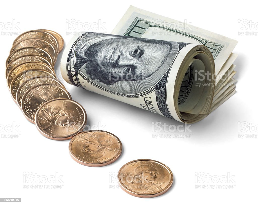 Roll of bills and some coins royalty-free stock photo