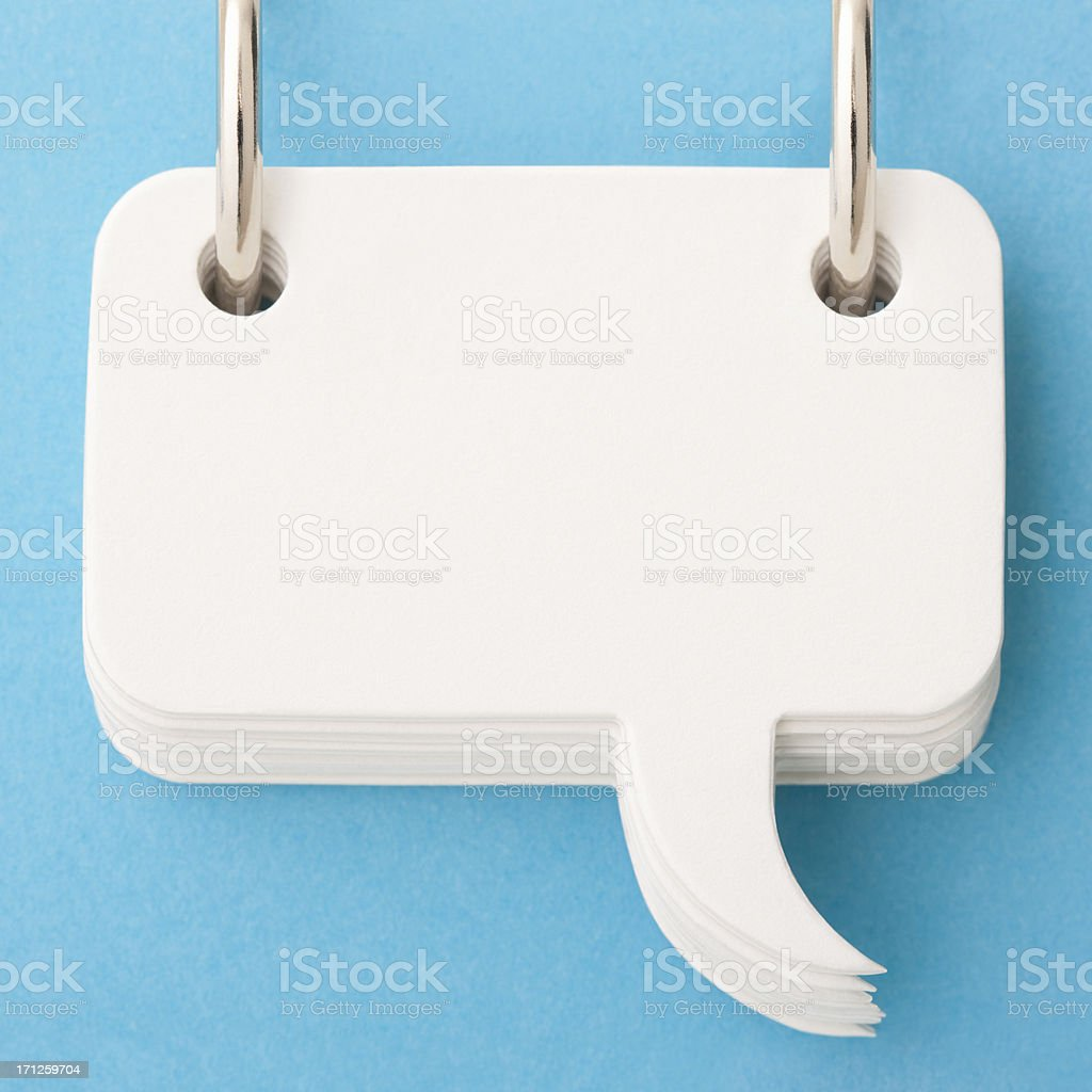 Roll of blank white speech bubbles stock photo