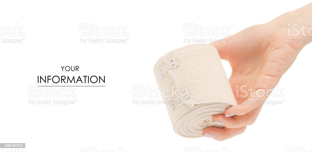 Roll Of Elastic Bandage In Hand Medicine Pattern Stock Photo