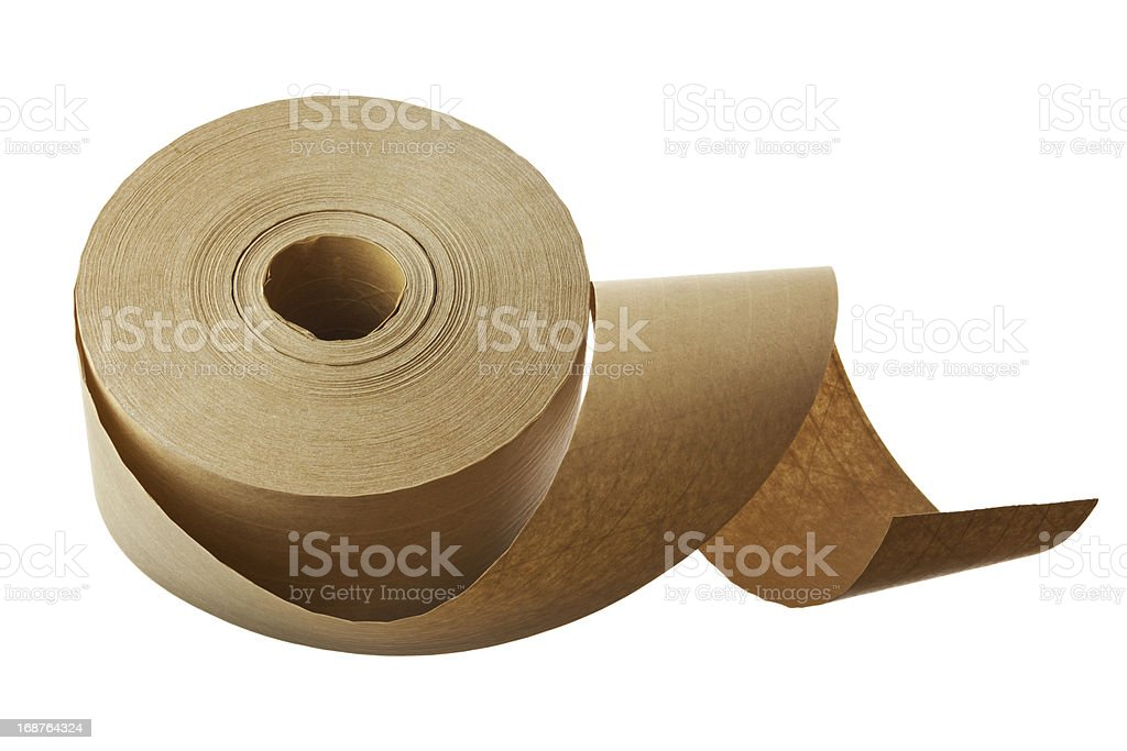 Roll of Fiber Reinforced Brown Shipping Tape stock photo