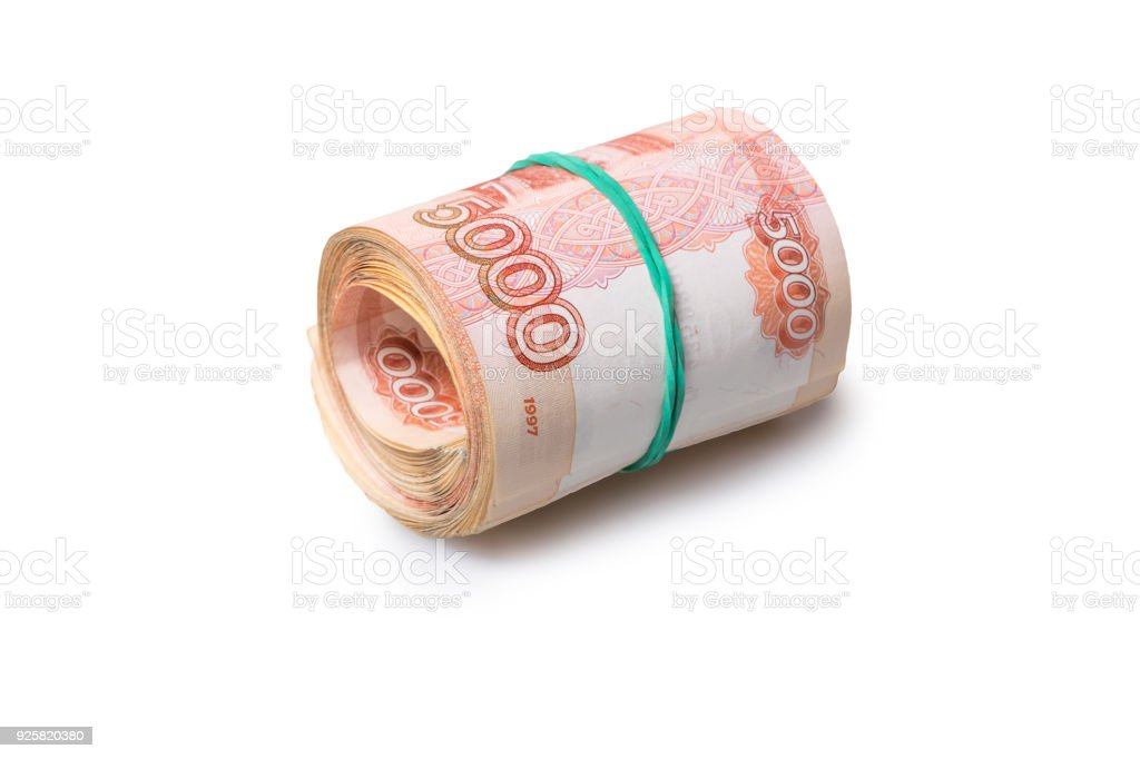 Roll of five thousand roubles banknotes stock photo