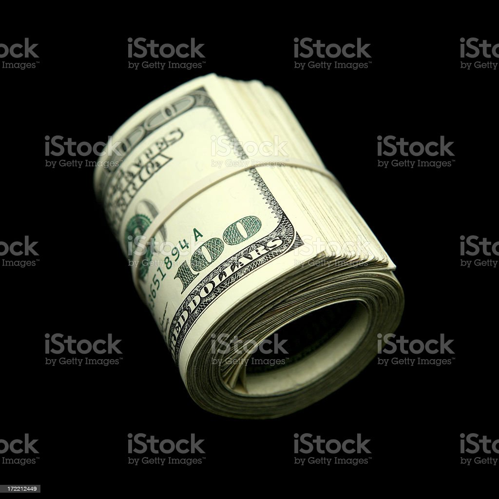 Roll of Hundreds royalty-free stock photo